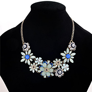cheap Hair Jewelry-Women's Crystal Statement Necklace Flower Flower Ladies Fashion Euramerican Crystal Resin Rhinestone Black Light Green Pink Necklace Jewelry For Wedding Party Special Occasion