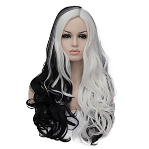 cheap Synthetic Trendy Wigs-Synthetic Wig Wig Long Black / White Synthetic Hair Women's Mixed Color