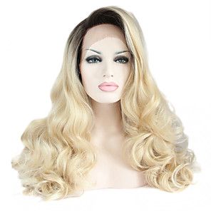 cheap Synthetic Trendy Wigs-Synthetic Lace Front Wig Natural Wave Natural Wave Lace Front Wig Long Black / Strawberry Blonde Synthetic Hair Women's Heat Resistant Ombre Hair Dark Roots Black / Natural Hairline