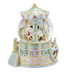 cheap Music Boxes-LED Lighting Music Box Carousel Toy Carousel Music Box Castle Snowflake Crystal Gift Birthday Christmas Decoration Unique Women's Girls' Kid's Adults Kids Graduation Gifts Toy Gift