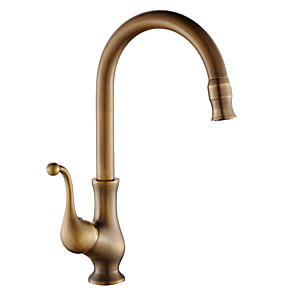 cheap Classical-Single Handle One Hole AntiqueHigh Arc Vessel Copper Standard Spout / Tall / Kitchen Taps