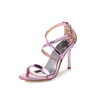 cheap Women's Sandals-Women's Sandals Stiletto Heel Open Toe Buckle Patent Leather Comfort Walking Shoes Spring / Summer Purple / Gold / Silver