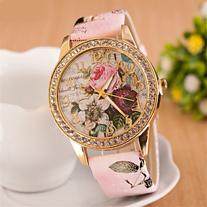 cheap Earrings-Women's Wrist Watch Simulated Diamond Watch Diamond Watch Quartz Ladies Imitation Diamond Quilted PU Leather White / Red / Pink Analog - White Red Pink One Year Battery Life / SSUO 377