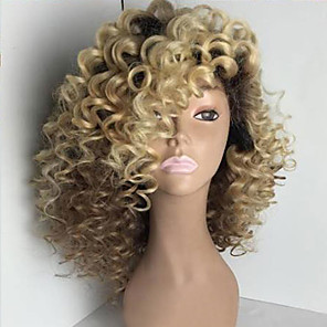 cheap Human Hair Wigs-Human Hair Glueless Full Lace Full Lace Wig Rihanna style Brazilian Hair Kinky Curly Ombre Wig 150% Density with Baby Hair Ombre Hair Natural Hairline African American Wig 100% Hand Tied Women's
