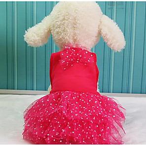 رخيصةأون ملابس الكلاب-كلب الفساتين كارتون كاجوال / يومي موضة ملابس الكلاب أصفر أحمر زهري كوستيوم قطن XS S M L XL XXL