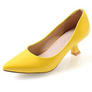 cheap Women's Heels-Women's Heels Chunky Heel Pointed Toe Leatherette Comfort Spring / Summer Red / Green / Pink / Dress