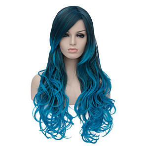 cheap Costume Wigs-Synthetic Wig Wig Ombre Long Blue Synthetic Hair Women's Ombre