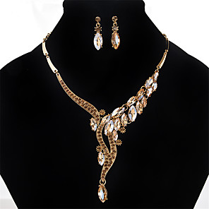 cheap Jewelry Sets-Women's Crystal Necklace / Earrings Personalized Euramerican Crystal Rhinestone Earrings Jewelry Gold / Silver / Gray For Wedding Party Special Occasion