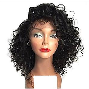 povoljno Perike s ljudskom kosom-Ljudska kosa Full Lace Perika Bob frizura Slobodni dio stil Brazilska kosa Kovrčav Perika 120% 130% Gustoća kose s dječjom kosom Prirodna linija za kosu Afro-američka perika Izbijeljeni čvorovi Žene