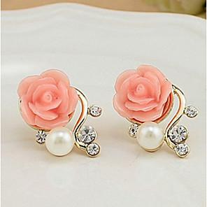 cheap Earrings-Women's Stud Earrings Roses Flower Ladies Euramerican Elegant Pearl Imitation Pearl Rhinestone Earrings Jewelry White / Red For Party Casual