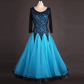 cheap Ballroom Dancewear-Ballroom Dance Dress Lace Draping Splicing Women's Performance Long Sleeve High Spandex Organza
