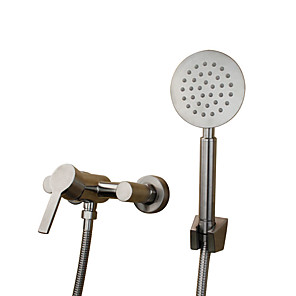 cheap Shower Faucets-Art Deco/Retro Traditional Tub And Shower Widespread Ceramic Valve Two Holes Single Handle Two Holes Stainless Steel, Bathtub Faucet
