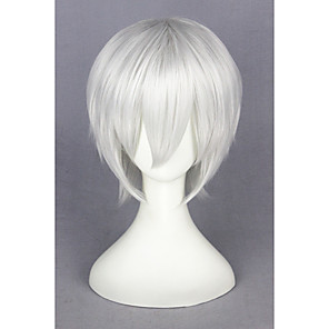 cheap Synthetic Trendy Wigs-Synthetic Wig Cosplay Wig Straight Kardashian Straight Wig Short Silver Synthetic Hair Women's White