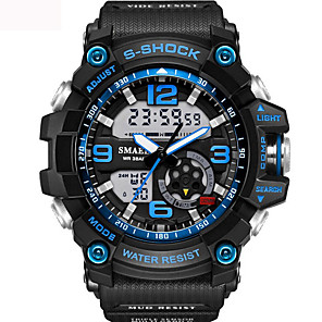 cheap Sport Watches-Men's Unisex Sport Watch Fashion Watch Military Watch Japanese Digital Silicone Black / Blue / Red 30 m Water Resistant / Waterproof Alarm Calendar / date / day Analog - Digital Black / Gold Black