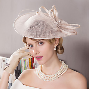 povoljno Šeširi i fascinatori-Lan / Umjetno drago kamenje / Perje Kentucky Derby Hat / Fascinators / kape s Cvjetni print 1pc Vjenčanje / Special Occasion / Čajanka Glava