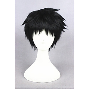 cheap Synthetic Trendy Wigs-Synthetic Wig Cosplay Wig Straight Straight Wig Short Natural Black Synthetic Hair Men's Black