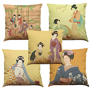 cheap Pillow Covers-5 pcs Linen Natural / Organic Pillow Cover Pillow Case, Solid Colored Floral Plaid Casual Retro Traditional / Classic