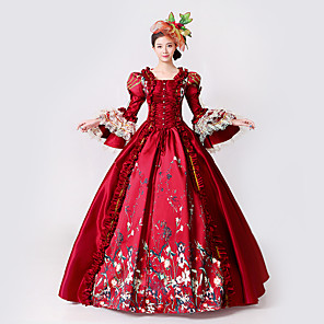 cheap Historical & Vintage Costumes-Princess Goddess Dress Cosplay Costume Masquerade Ball Gown Women's Rococo Medieval Renaissance Party Prom Christmas Halloween Carnival Festival / Holiday Lace Organza Red Women's Carnival Costumes