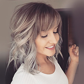 cheap Synthetic Trendy Wigs-Human Hair Blend Wig Medium Length Natural Wave Layered Haircut Side bangs Lob Short Hairstyles 2020 Berry Natural Wave Blonde Ombre Hair Dark Roots Side Part Machine Made Women's Blonde
