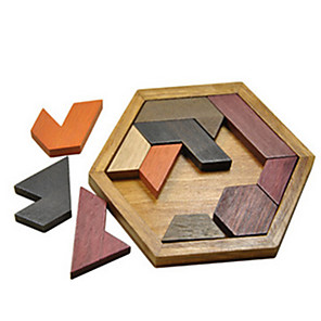 cheap Wooden Puzzles-Tangram Building Blocks Jigsaw Puzzle Wooden Puzzle Wooden Model Building Bricks Eco-friendly Retro Building Toys Unisex Boys' Girls' Toy Gift / Kid's