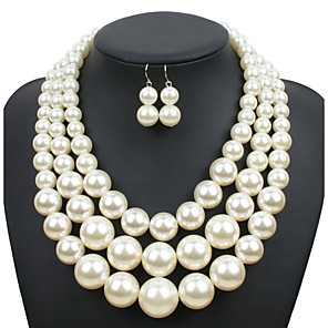 cheap Men's Bracelets-Women's Pearl Jewelry Set trinity necklace Ladies Euramerican Elegant fancy Pearl Earrings Jewelry Beige / Dark Coffee / Red For Wedding Party Special Occasion Daily Casual Masquerade