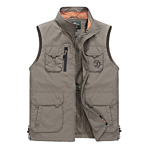 cheap Flashlights & Camping Lanterns-Men's Hiking Vest / Gilet Fishing Vest Outdoor Thermal / Warm Waterproof Breathable Quick Dry Jacket Top Camping / Hiking Fishing Backcountry Blue Hunter Green Khaki L XL