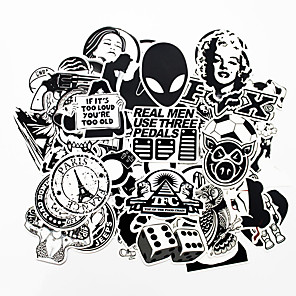 cheap Car Pendants & Ornaments-ZIQIAO 100 PCS Black and White Cool DIY Stickers For Car Skateboard Laptop Luggage Snowboard Fridge Phone Toy Styling Home Decor Stickers