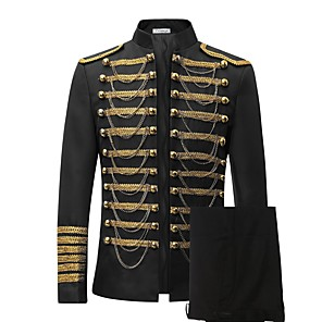 cheap Historical & Vintage Costumes-Prince Cosplay Costume Blazer Jacket & Pants Tuxedo Suits & Blazers Tailcoat Men's Rococo Medieval 18th Century Napoleon Jacket Party Prom Halloween Carnival Festival / Holiday Lace Black / Red Men's