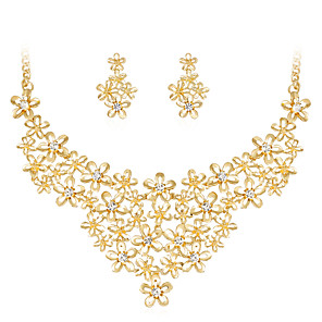 cheap Jewelry Sets-Women's Jewelry Set Flower Flower Ladies Classic Fashion Rhinestone Gold Plated Earrings Jewelry Gold For Wedding Party Special Occasion Birthday Gift