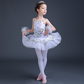 cheap Kids' Dancewear-Ballet Dress Lace Crystals / Rhinestones Paillette Performance Sleeveless High Spandex Tulle