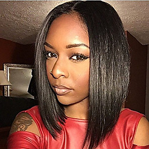 cheap Synthetic Trendy Wigs-Human Hair Glueless Full Lace Full Lace Wig Bob Kardashian style Brazilian Hair Straight Natural Black Wig 130% Density 10-14 inch with Baby Hair Natural Hairline African American Wig 100% Hand Tied