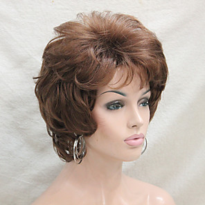 cheap Synthetic Trendy Wigs-Synthetic Wig Curly Curly With Bangs Wig Short Medium Auburn Synthetic Hair Women's Side Part Brown