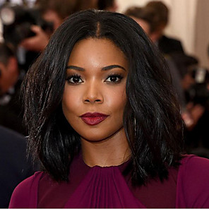 cheap Synthetic Trendy Wigs-Synthetic Wig Wavy Wavy Bob Wig Medium Length Natural Black Synthetic Hair Women's Middle Part African American Wig Black