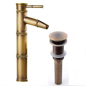 cheap Faucet Sets-Faucet Set - Waterfall Antique Copper Centerset Single Handle One HoleBath Taps