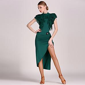 cheap Latin Dancewear-Latin Dance Leotard / Onesie Ruffles Women's Performance Natural Tulle Viscose