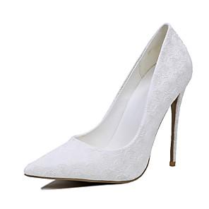 Mujer Zapatos Lentejuelas Primavera / Verano Pump Básico Zapatos de boda Tacón Stiletto Punta abierta Negro / Rojo / Marfil C3FHA5bZ