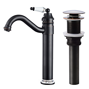 cheap Bathroom Sink Faucets-Faucet Set - Widespread / Rotatable Oil-rubbed Bronze Centerset Single Handle One HoleBath Taps