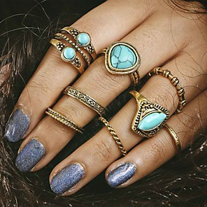 cheap Rings-Women's Ring Turquoise 8pcs Gold Alloy Ladies Unusual Unique Design Party Daily Jewelry