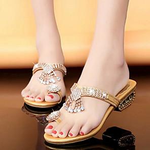 cheap Women's Sandals-Women's Sandals Glitter Crystal Sequined Jeweled Flat Sandal Summer / Fall Flat Heel Open Toe Comfort Novelty Slingback Wedding Casual Dress Rhinestone PU Walking Shoes Gold / Silver