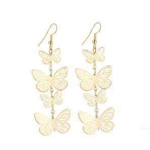 cheap Necklaces-Women's Drop Earrings Butterfly Animal Dangling Vintage Bohemian Simple Style Fashion Elegant Silver Plated Gold Plated Earrings Jewelry Gold / Silver For Christmas Gifts Wedding Party Special