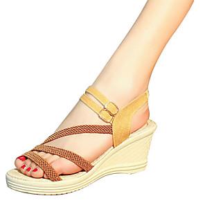 cheap Cycling Jerseys-Women's Sandals Wedge Sandals Summer Wedge Heel Comfort Outdoor PU Dark Brown / White / Black