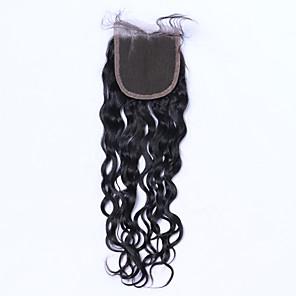 cheap 4 Bundles Human Hair Weaves-Brazilian Hair 4x4 Closure Loose Wave Free Part / Middle Part / 3 Part Swiss Lace Human Hair