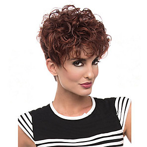 cheap Synthetic Trendy Wigs-Synthetic Wig Curly Curly Wig Short Brown Synthetic Hair Women's African American Wig Brown