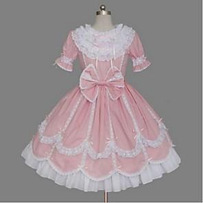 cheap Lolita Dresses-Princess Sweet Lolita Dress Women's Girls' Cotton Japanese Cosplay Costumes Pink Solid Colored Bowknot Cap Sleeve Short Sleeve Short / Mini / High Elasticity