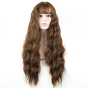 cheap Synthetic Trendy Wigs-Synthetic Wig Wavy Wavy With Bangs Monofilament L Part Wig Long Brown Synthetic Hair Women's Brown