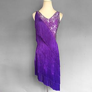 cheap Latin Dancewear-Latin Dance Tassel Splicing Crystals / Rhinestones Women's Sleeveless Natural Spandex