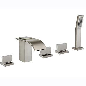 cheap Bathtub Faucets-Bathtub Faucet - Art Deco / Retro Nickel Brushed Roman Tub Ceramic Valve Bath Shower Mixer Taps / Brass / Two Handles Three Holes