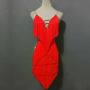 cheap Latin Dancewear-Latin Dance Shorts Sequin Tassel Splicing Women's Performance Sleeveless High Spandex
