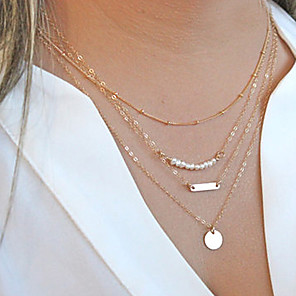 cheap Necklaces-Women's Pearl Chain Necklace Layered Necklace Layered Bar Dainty Ladies Personalized Fashion Pearl Alloy Necklace Jewelry For Christmas Gifts Party Daily Casual Sports / Pearl Necklace