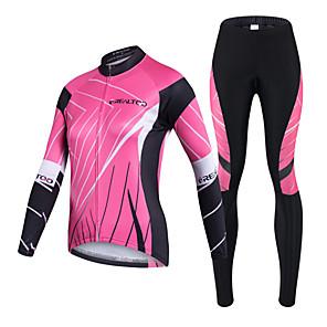 povoljno Biciklističke majice-Realtoo Žene Dugih rukava Biciklistička majica s tajicama Black / Pink Bicikl Sportska odijela Prozračnost Pad 3D Quick dry Ultraviolet Resistant Povratak džep Sportski Likra Klasika Brdski
